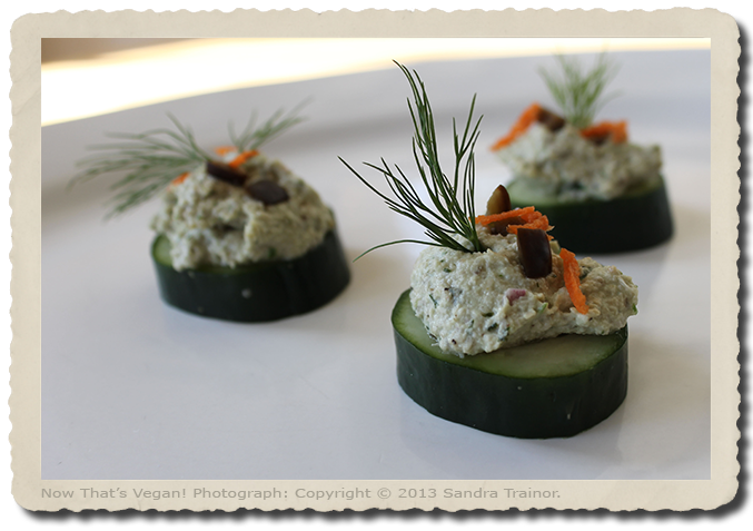 Vegan hors d'oeuvres made with vegetables, fruits, herbs, and seasonings.