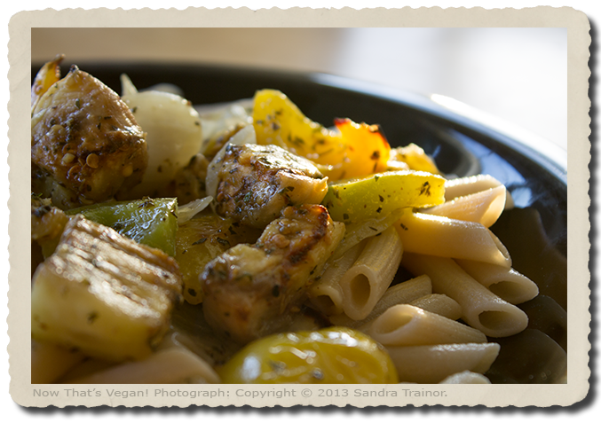 Penne pasta with baked eggplant and green peppers.