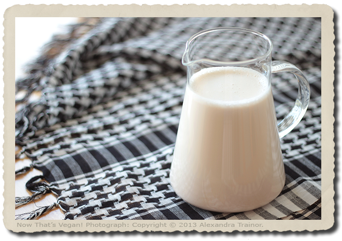 A recipe for nondairy milk made with almonds.