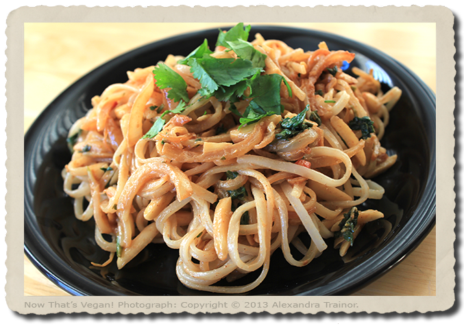 A recipe for noodles mixed in an almond butter sauce.