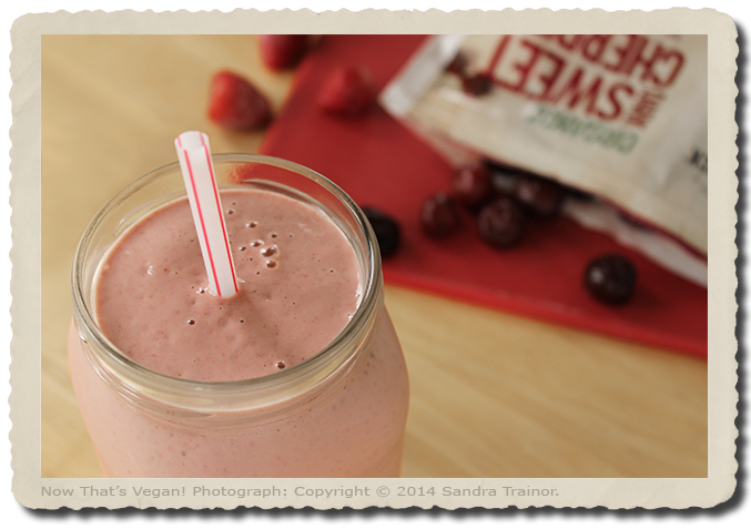 A vegan shake recipe made with cherries and strawberries.