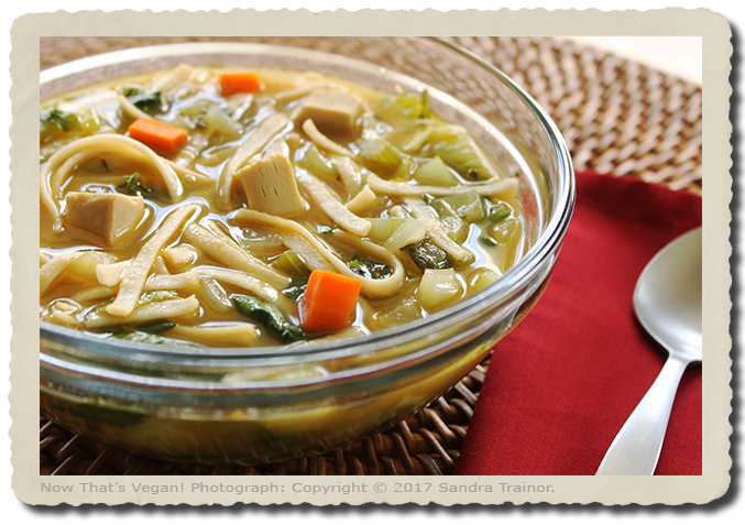A vegan recipe for chicken noodle soup using a chicken substitute.