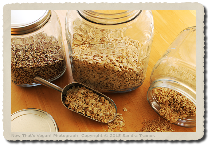 Various gluten-free grains in glass containers.