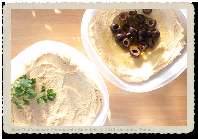 Three variations of hummus.
