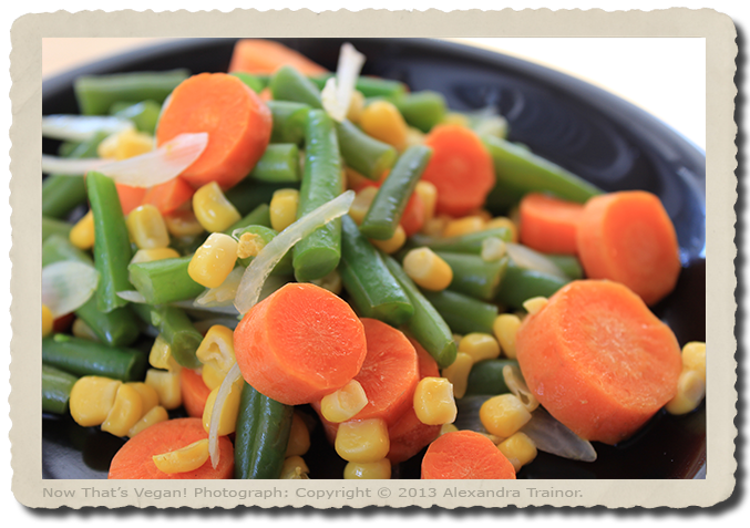 Carrots, green beans, corn, and onion.