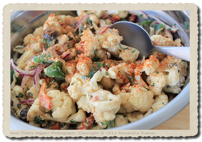 A salad that's similar to potatoe salad, but uses baked cauliflower in place of potatoes.