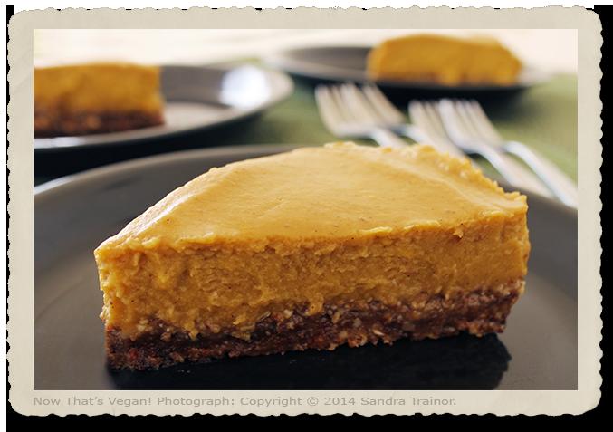 A vegan and gluten-free pumpkin pie with a nut crust.