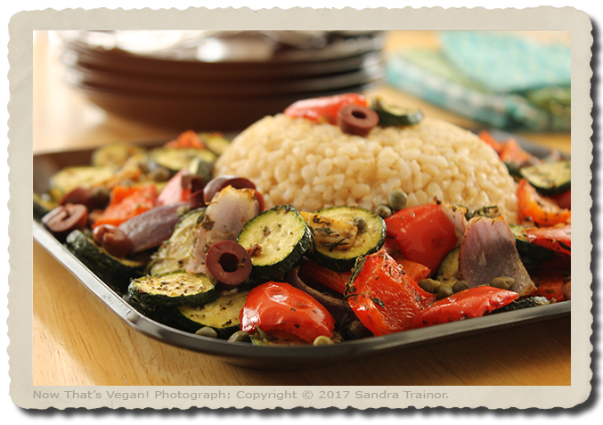 Roasted red peppers and zucchini, served with brown rice.