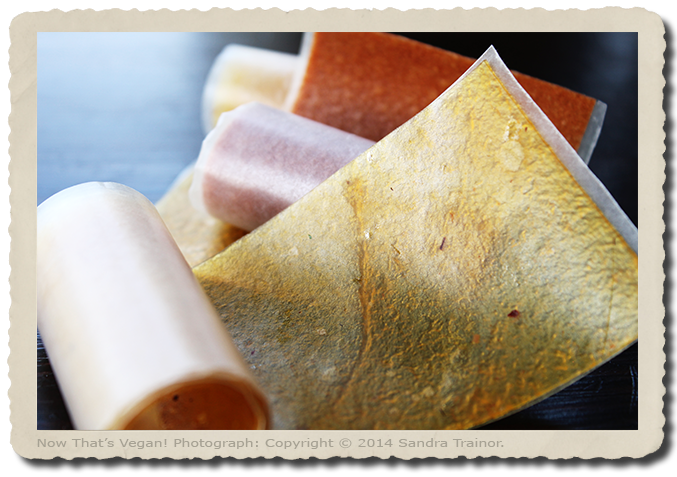 Puréed and dehydrated fruit rolled in wax paper for easy storage.
