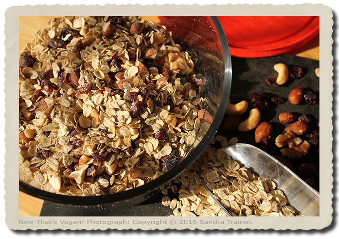 A cereal mix of oats, nuts, seeds, and dried fruit.