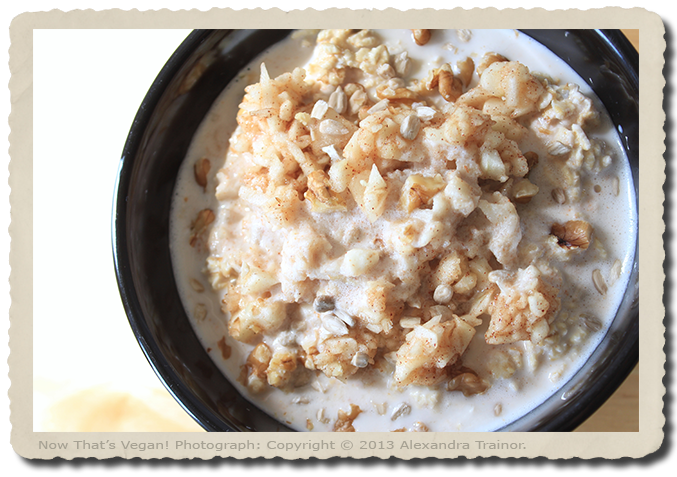 A breakfast of oats soaked overnight with apples and cinnamon.