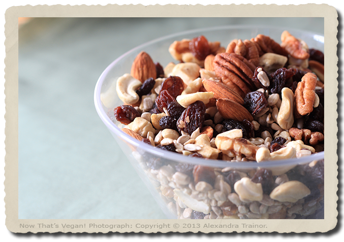 A mix of nuts, seeds, and dried fruit.