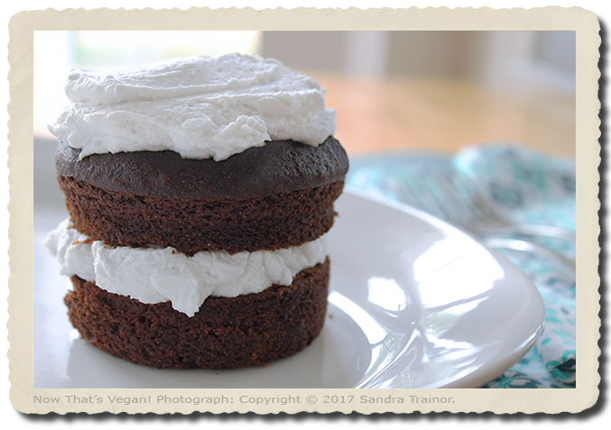 a small chocolate cake with coconut whipped cream.