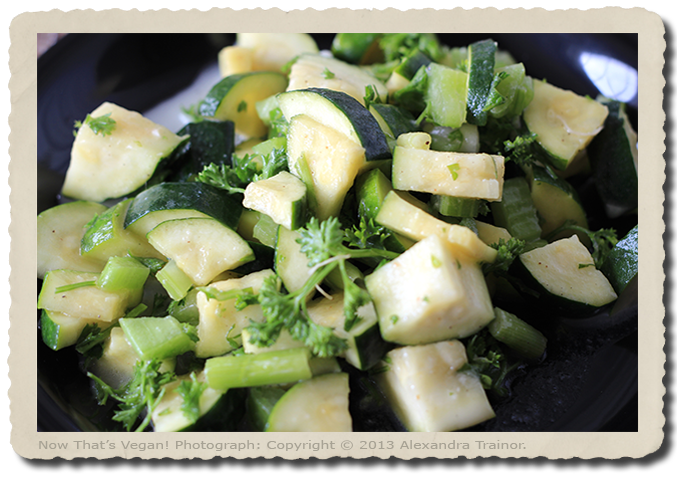 A raw zucchini salad with ginger dressing.