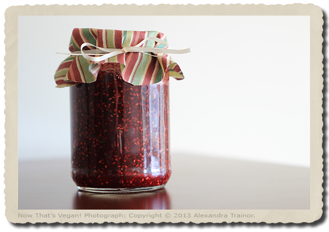 A sweet jam made with rasberries.