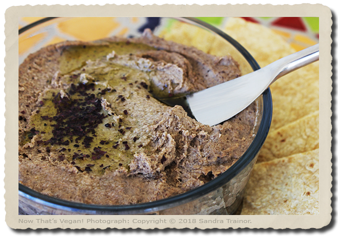 A hummus made with black beans and chickpeas.