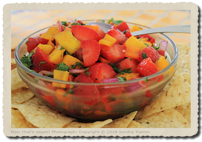 A tasty salsa made with strawberries and Mango.