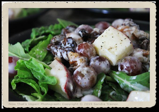A Waldorf Salad using vegan mayonnaise.