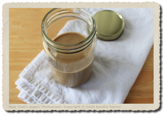Tahini sauce made from ground sesame seeds.