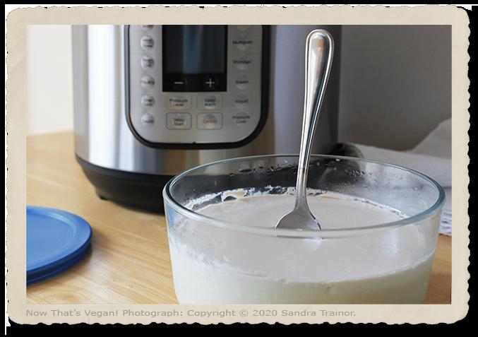 A nondairy yogurt made using an Instant Pot